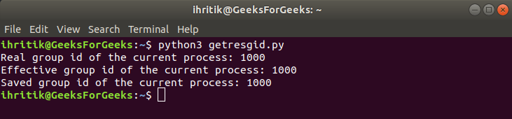 os.getresgid() method output