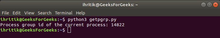 os.getpgrp() method output