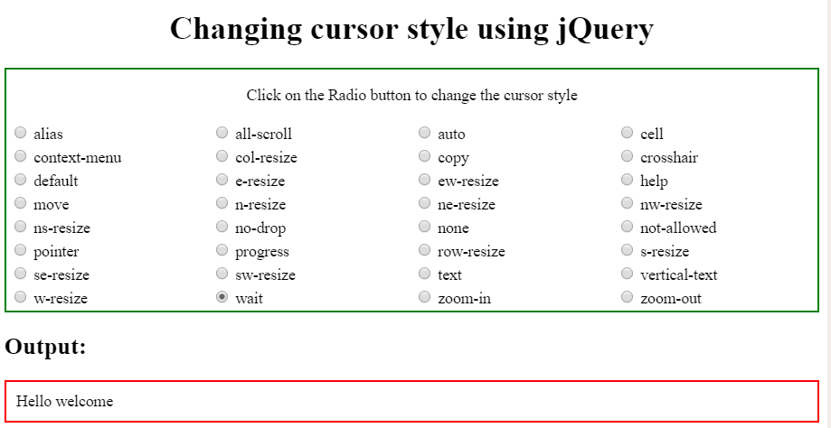How to change cursor style using jQuery ? - GeeksforGeeks