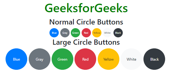 How to get circular buttons in bootstrap 4 ? - GeeksforGeeks