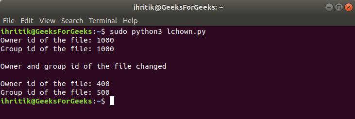 os.lchown() mwthod terminal output