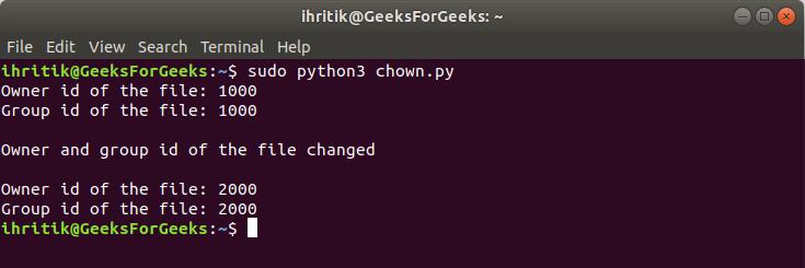 os.chown() method terminal output