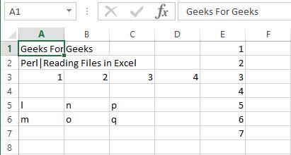 Perl | Reading Excel Files - GeeksforGeeks