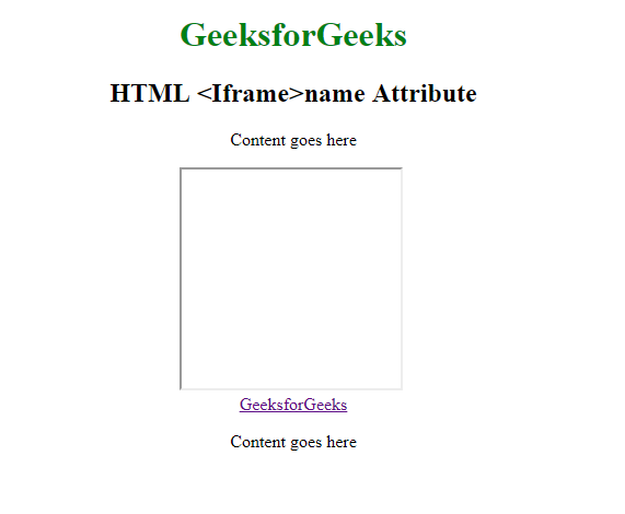 HTML   <iframe> name Attribute - GeeksforGeeks
