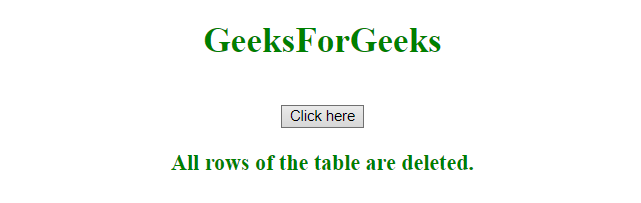 How to remove all rows from a table in JavaScript