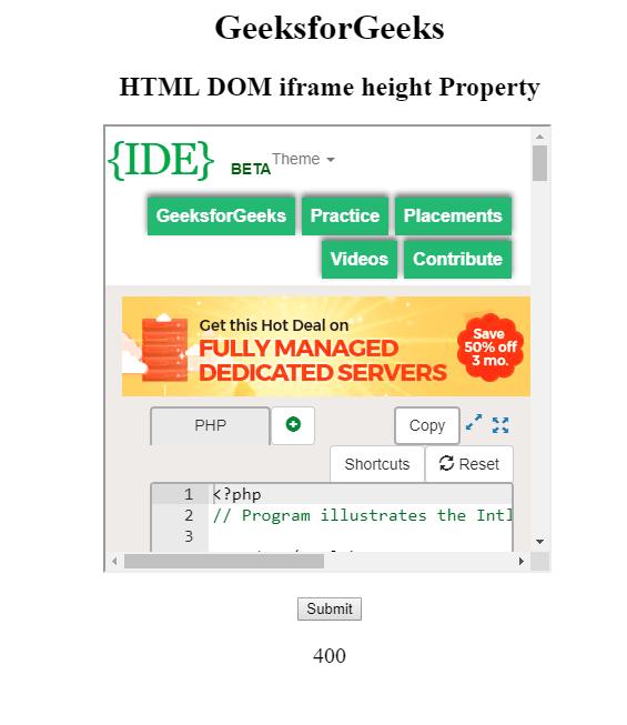 HTML | DOM IFrame height Property - GeeksforGeeks