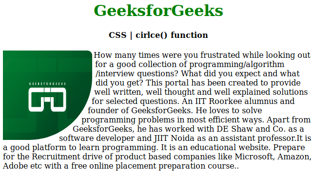 CSS | circle() function