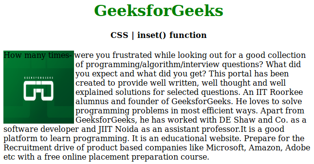 CSS inset() function