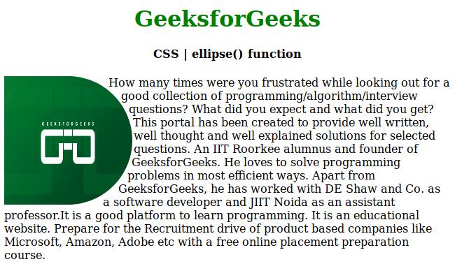 CSS   ellipse () Function - GeeksforGeeks