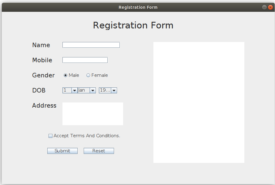 Java Swing Simple User Registration Form Geeksforgeeks