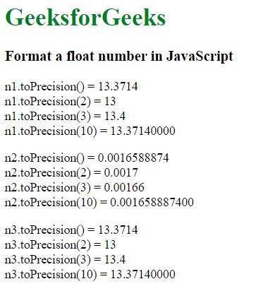 How to format a float in JavaScript ? - GeeksforGeeks