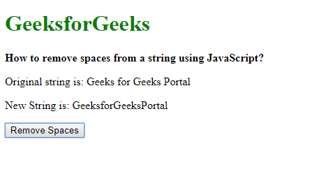 How to remove spaces from a string using JavaScript