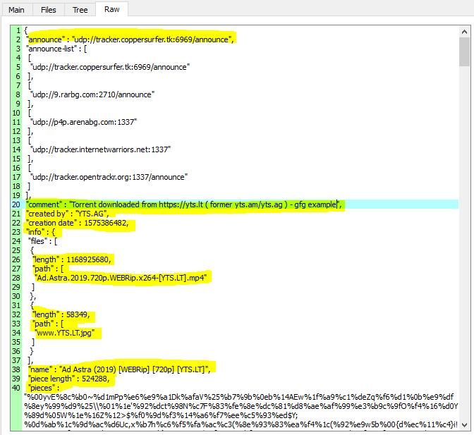 examine torrent file raw content