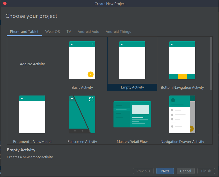 Create a New project and select Empty Activity