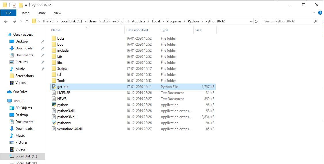 Downloading and storing get-pip file