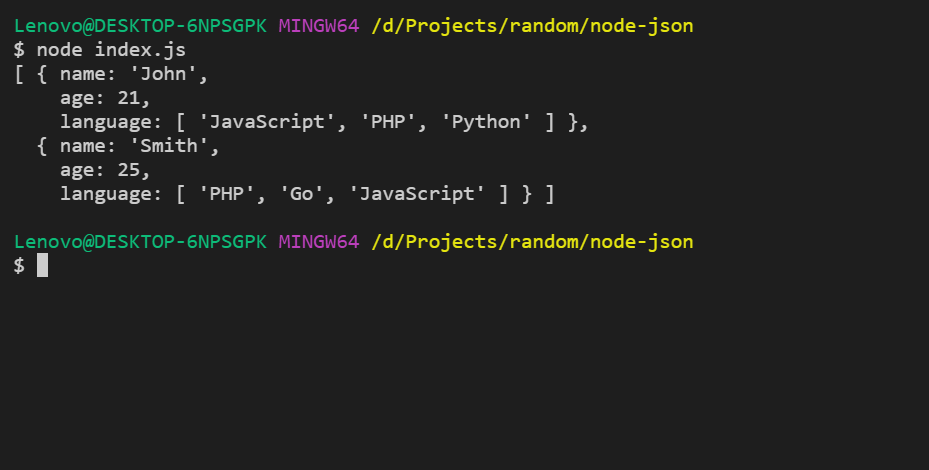How To Read And Write Json File Using Node Js Geeksforgeeks