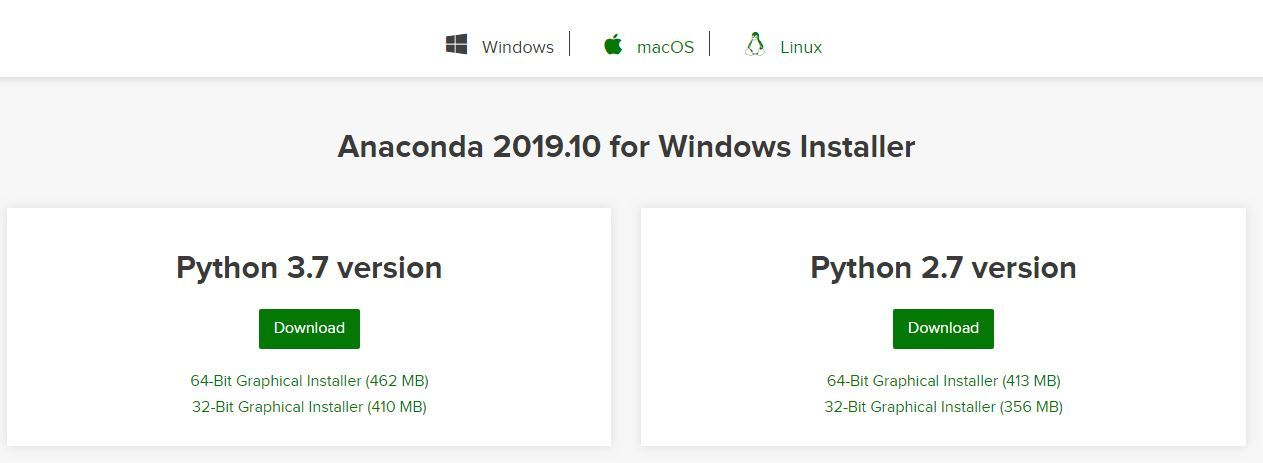 Anaconda-version-download-Windows
