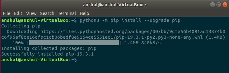 Updating pip before installation