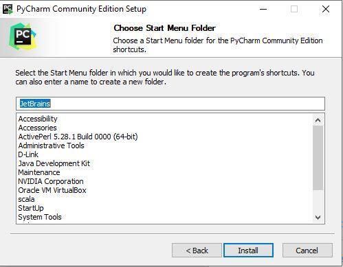 Selecting Folder in Start Menu