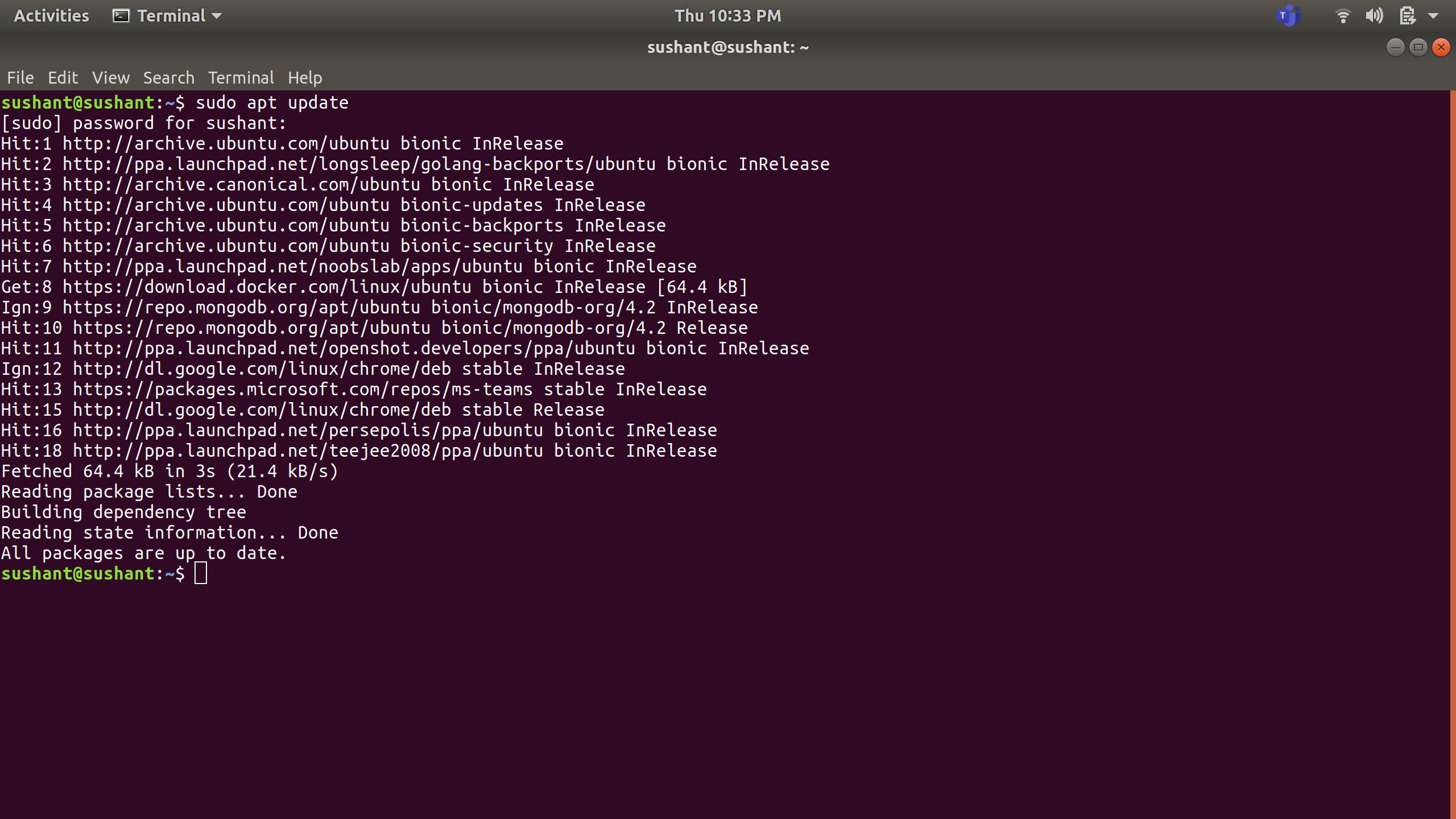 updating-the-pakcages-on-ubuntu