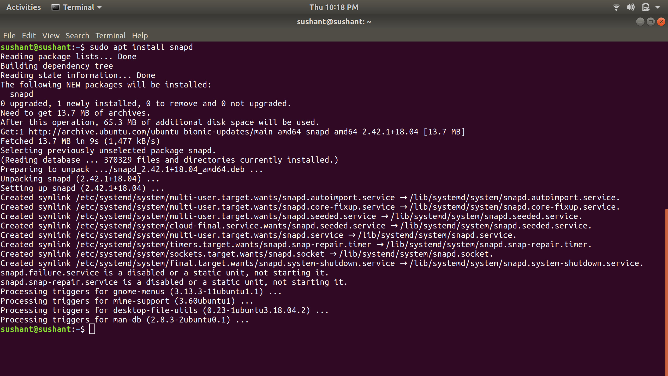 installing snapd on ubuntu