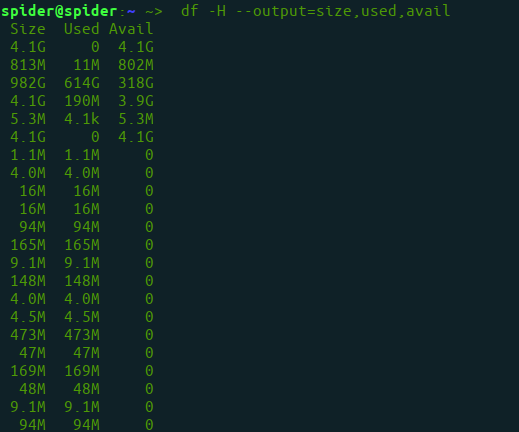 To see disk space usage and display specific columns using df command