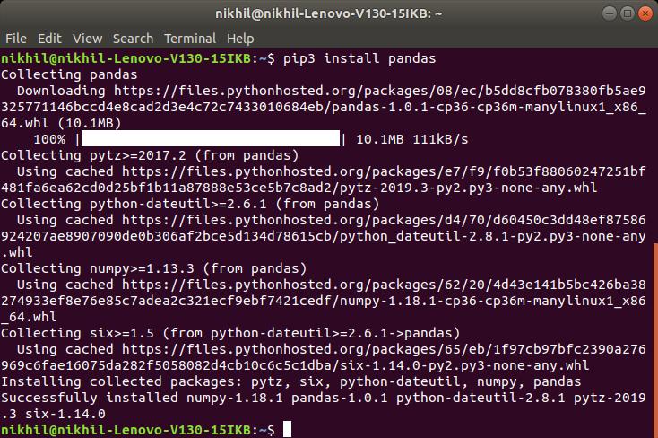 Pandas-Installation-Linux