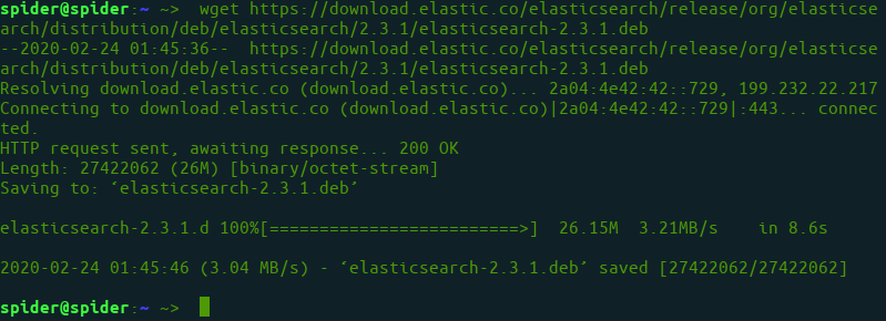 downloading deb file for elasticsearch