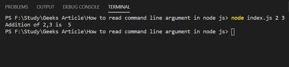 Output of above command