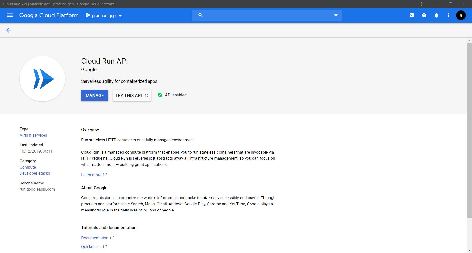 CLOUD RUN API