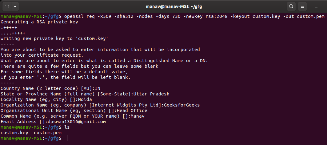 Creating-New-Private-Key-and-Self-Signed-Certificate-using-Openssl-Commad-in-Linux