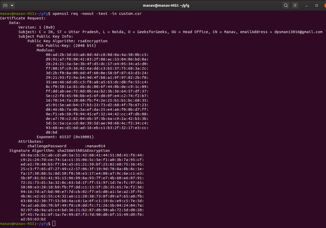 Verifying-a-CSR-File-using-OpenSSL-command-in-Linux