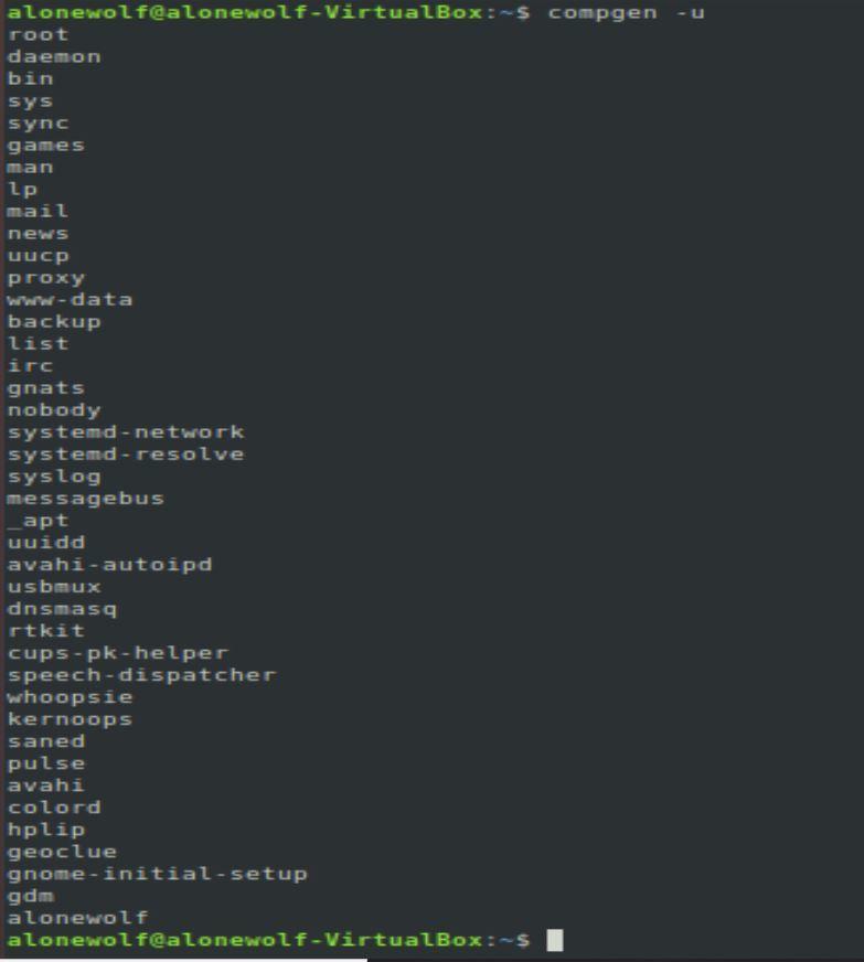 compgen command in Linux