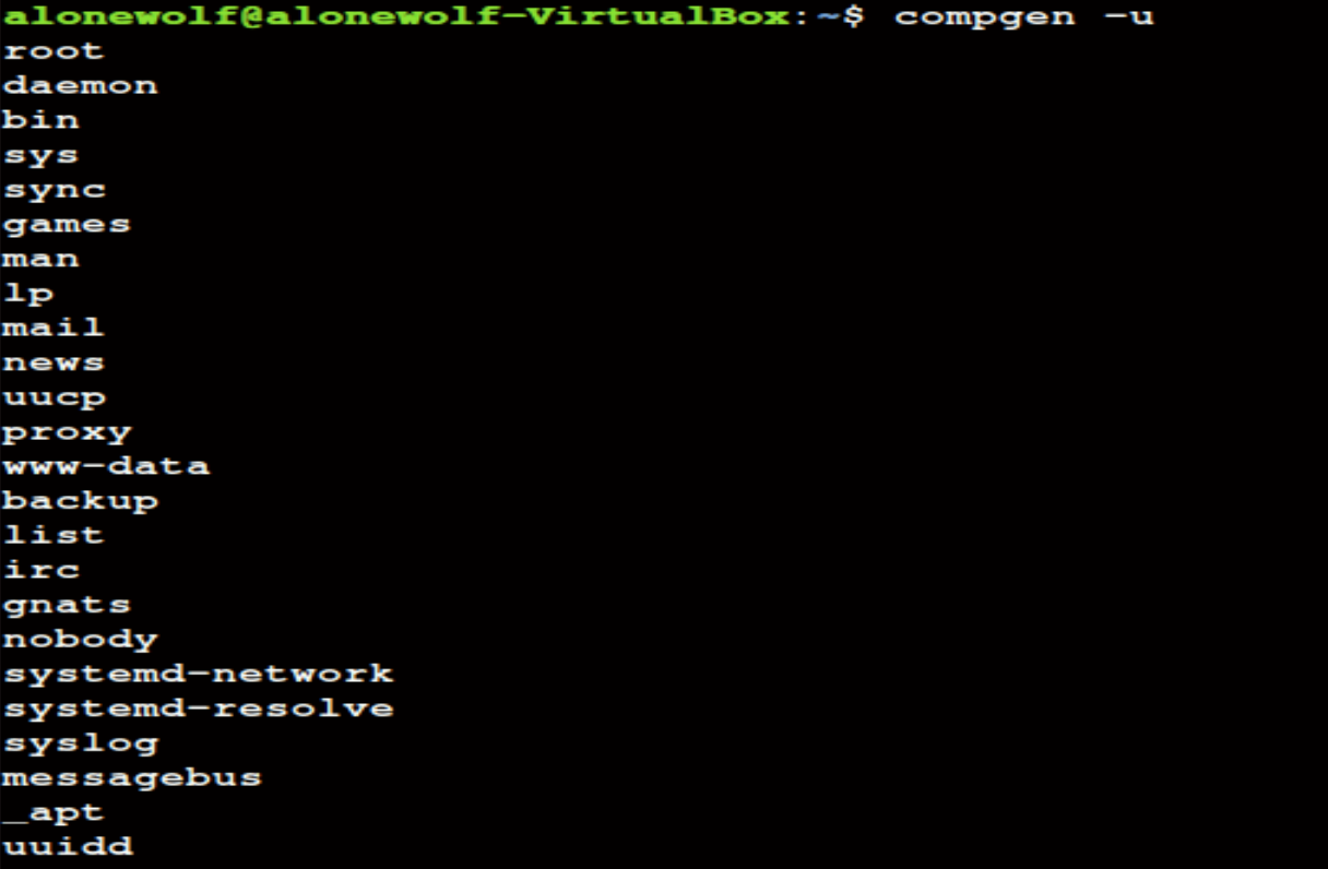 compgen command in Linux
