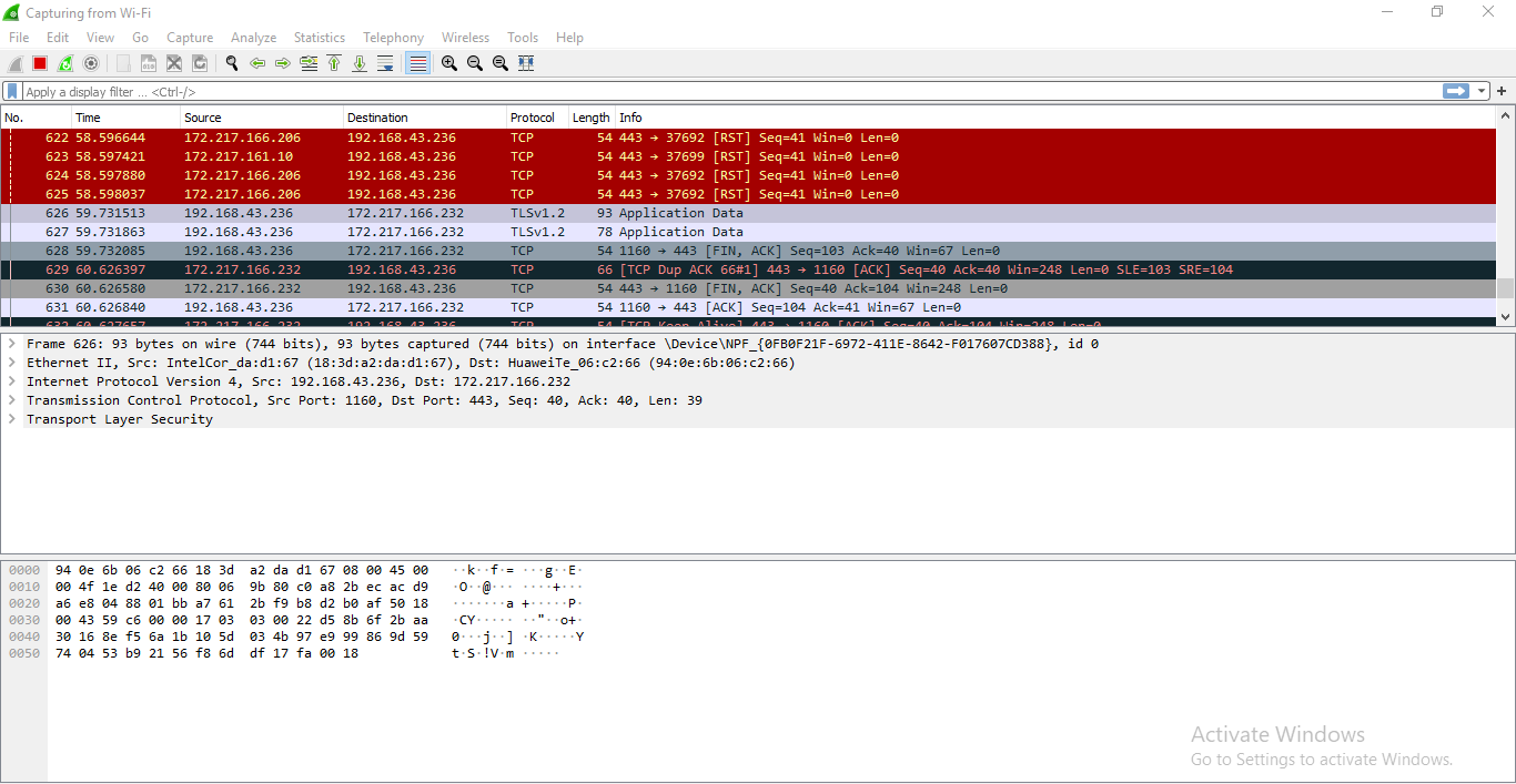 Wireshark capture screen
