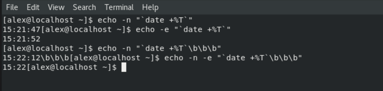 echo with n and e option in Linux