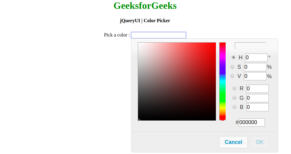 How To Design Color Picker Using Jquery Ui Geeksforgeeks