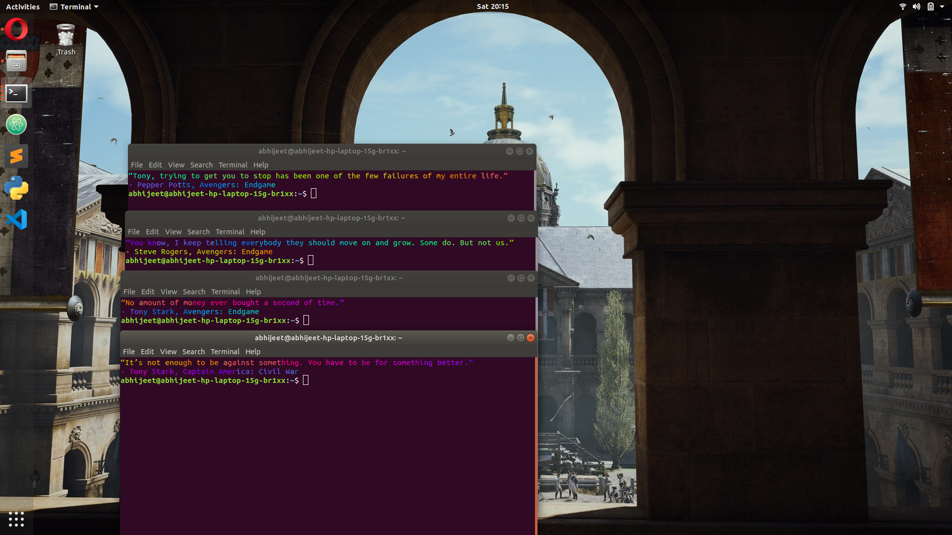terminal launching with Quotes