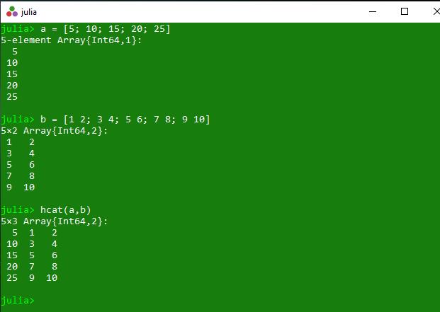 Concatenation Of Arrays In Julia Cat Vcat Hcat And Hvcat Methods Geeksforgeeks