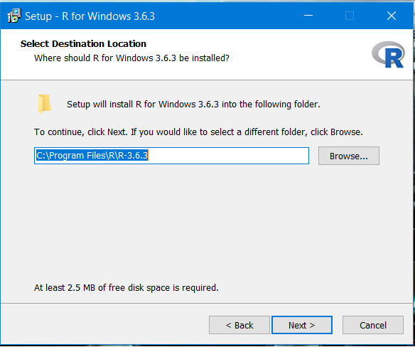 Installing R for Windows platform.