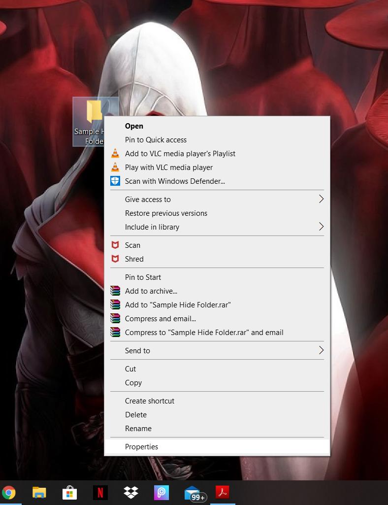 hiding a folder in windows - 3