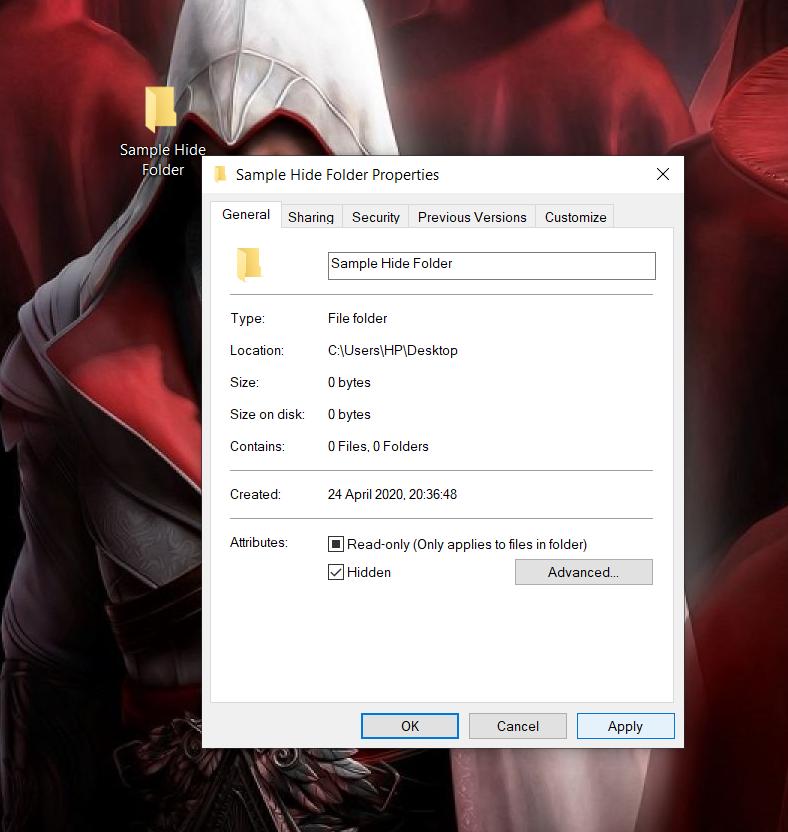 hiding a folder in windows - 4