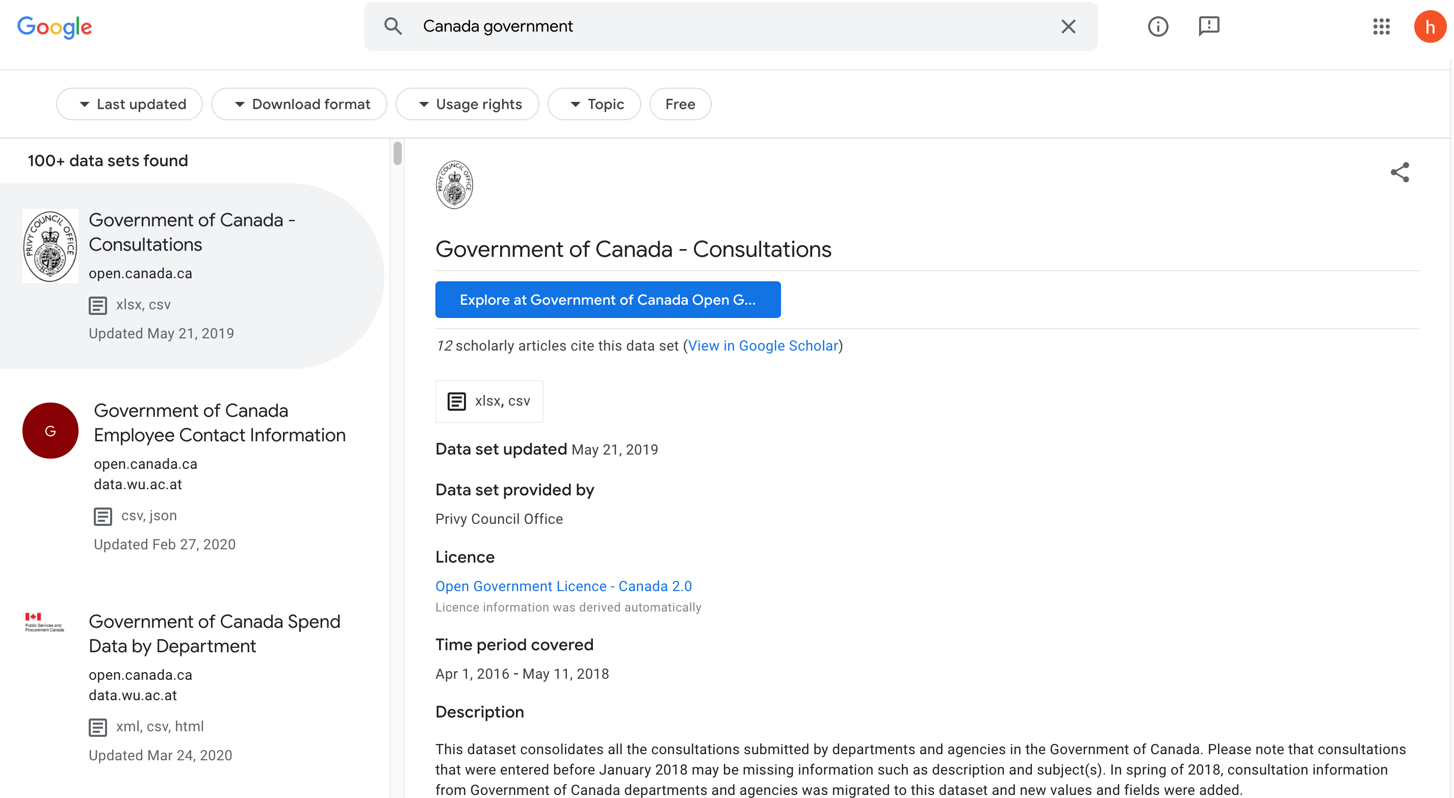 Google Dataset Canada government