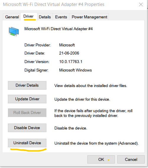 Uninstalling the Current Driver