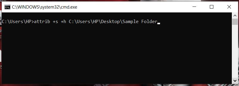 hiding a folder in windows using cmd - 4
