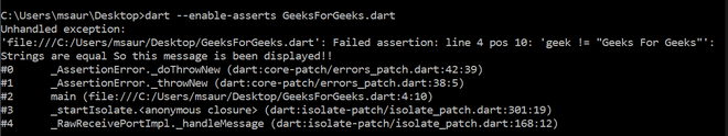 Using assert to give the message in a dart program