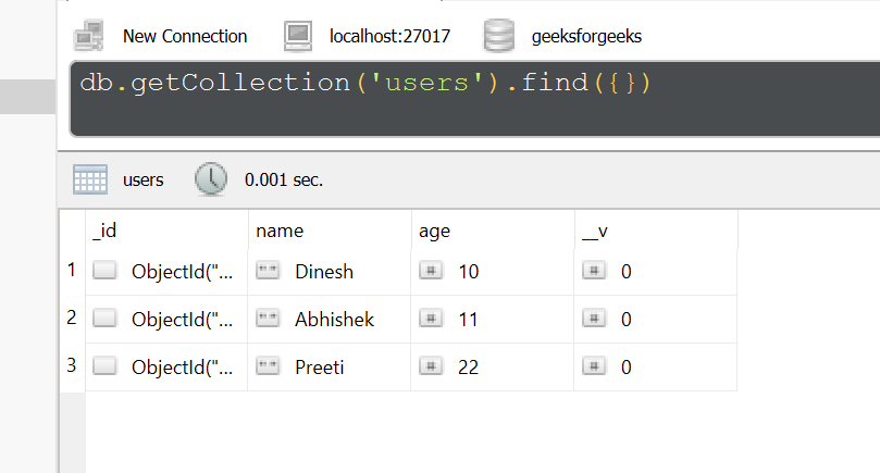 Database after delete command