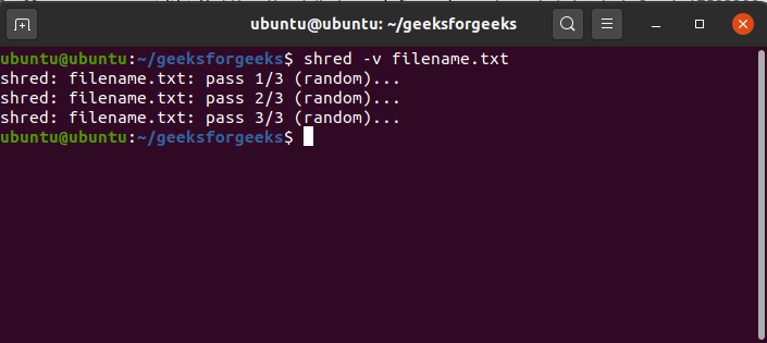 To-run-shred-command-with-verbose-mode