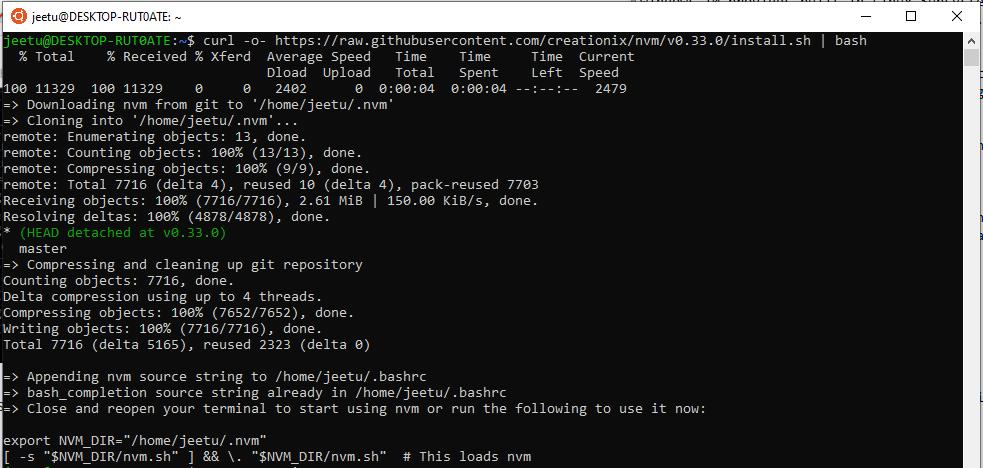 Installing NVM