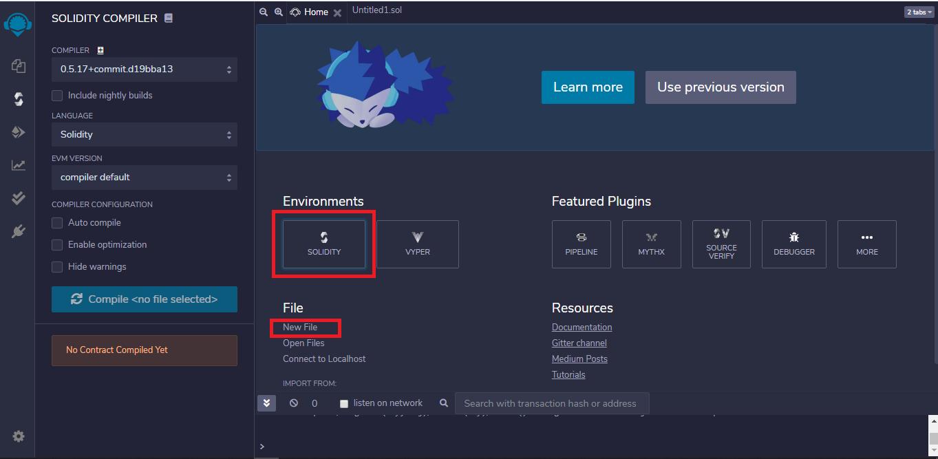 Remix IDE Startup Window